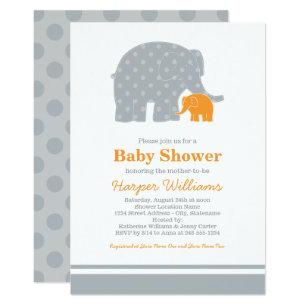 Orange Grey Baby Shower Invitations Zazzle
