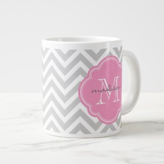 Gray and Pink Chevron Custom Monogram Extra Large Mugs