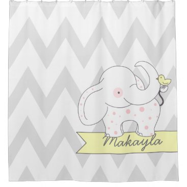 Gray and White Chevron with Pink Polkadot Elephant Shower Curtain