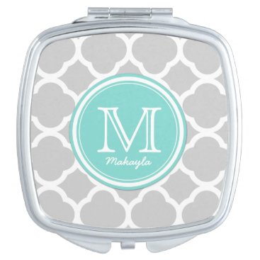 Gray and White quatrefoil with Monogram Compact Mirror