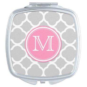 Gray and White quatrefoilwith Monogram Vanity Mirror