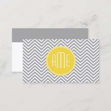 Gray and Yellow Chevrons Custom Monogram Business Card