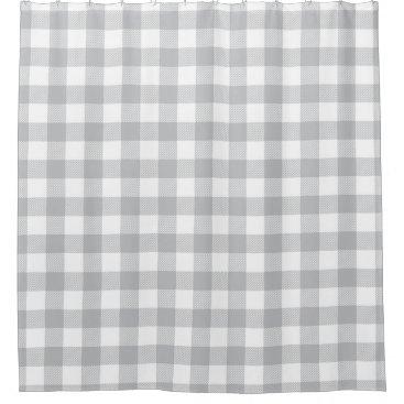 Gray Buffalo Plaid Checkered Pattern Shower Curtain