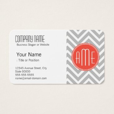 Gray Chevron and Coral Custom Monogram Business Card