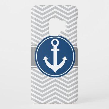 Gray Grey Nautical Anchor Chevron Case-Mate Samsung Galaxy S9 Case