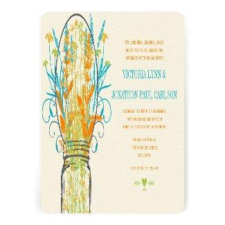 Gray Mason Jar Yellow Orange Lime Aqua Wedding Custom Announcement