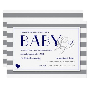 Gray Stripe Baby Boy Shower and Navy Blue Card