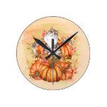 Gray White Cat Rustic Wood Box Orange Pumpkins Round Clock