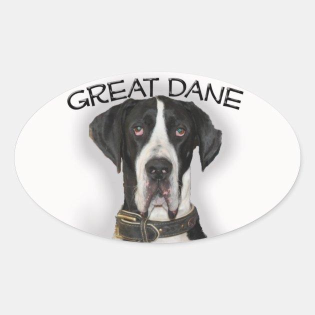 Great Dane Natural Ears Oval Sticker