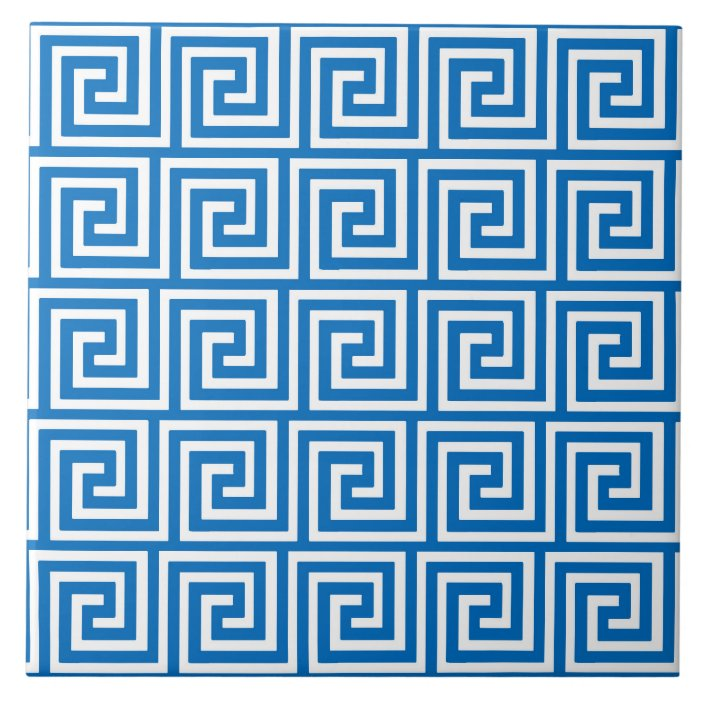 greek key cerulean blue and white tile zazzle com