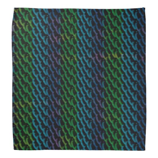 Green and Blue Abstract Trippy Hearts Mesh Pattern Bandana