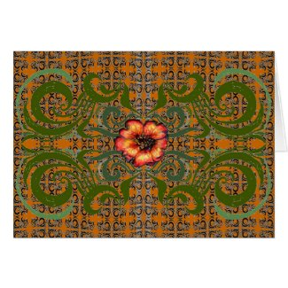 Green and Orange Pattern with a Red Flower zazzle_card