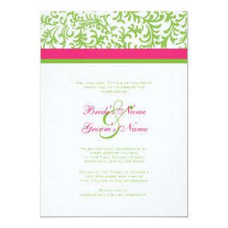 Hot Pink And Green Wedding Suite Invitation