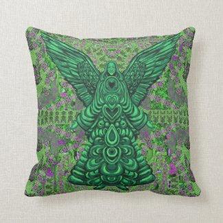 Green Angel Pattern Art Pillow