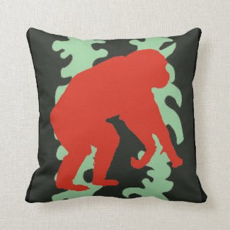 Green,Black,and Red Chimpanzee Pop Art Pillow