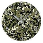 Green Black Cream Camouflage Pattern Print Large Clock