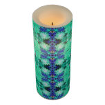 Green Blue Abstract Design Flameless Candle