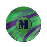 Green Blue Color Swish Monogram Plate