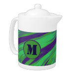 Green Blue Color Swish Monogram Teapot