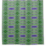 Green Blue Leaves Pattern Shower Curtain