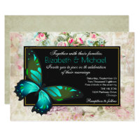 Green Butterfly on a Vintage Collage Wedding Card