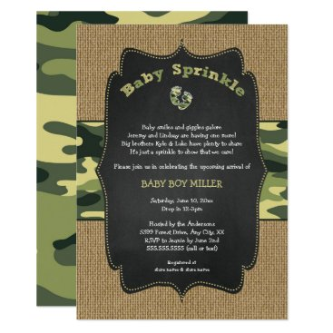 Green Camo Baby Sprinkle Invite, camouflage burlap Card