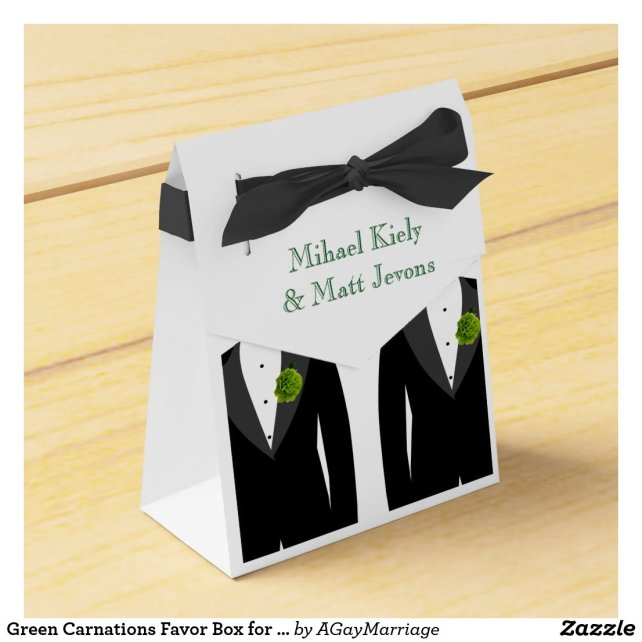 Green Carnations Favor Box for a Gay Wedding