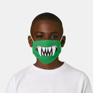 Green Cartoon Monster Teeth Mouth Kids' Cloth Face Mask