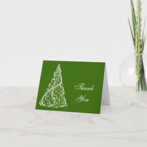 Green Christmas Tree Winter Holiday Thank You