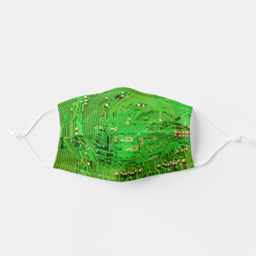 Green Computer Circuit Board Adult Cloth Face Mask
