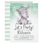 Green Elephant Birthday Party Invitation