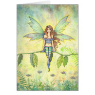Green Garden Fairy Fantasy Art Card