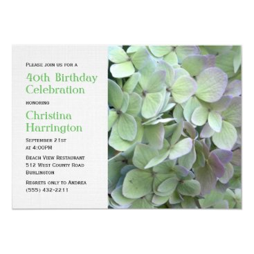 Green Hydrangea Elegant Birthday Party Invitations