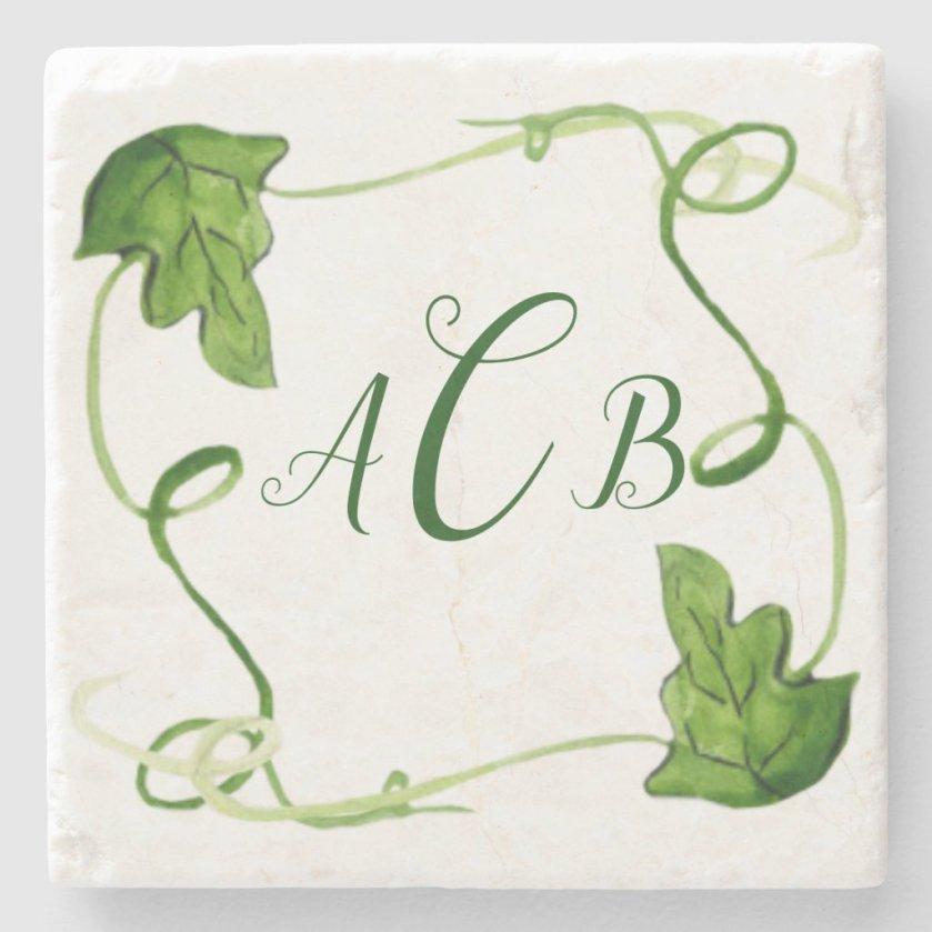 Green Leaf Art Custom Monogram Stone Coaster