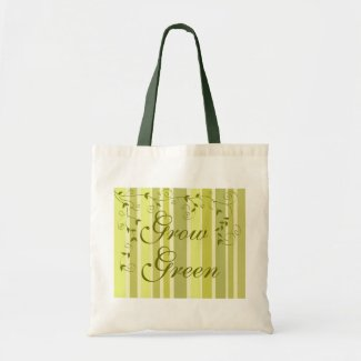 Green leaves stripes canvas bags