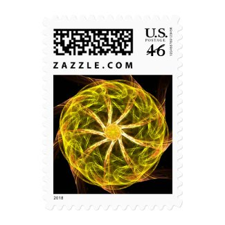 Green mandala postage stamps