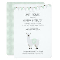 Green & Off-White Gender Neutral Llama Baby Shower Card