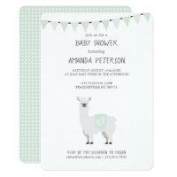 Green & Off-White Gender Neutral Llama Baby Shower Card