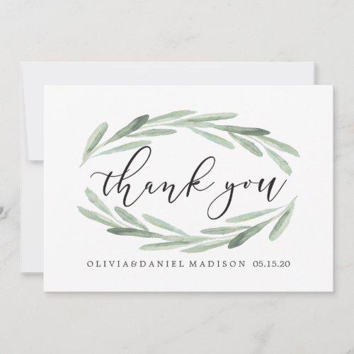Green Olive Branch Wreath Wedding Thank You Card