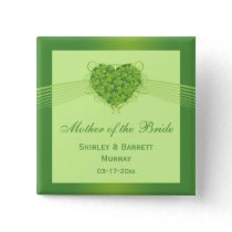 Green shamrock clovers heart wedding party favor buttons
