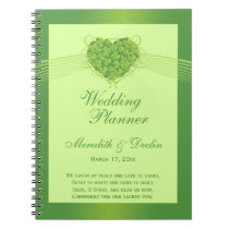 Green shamrock clovers heart wedding planner notebooks