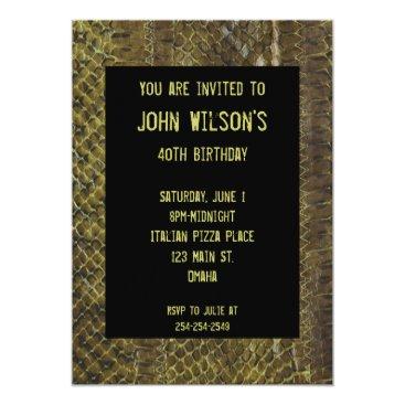 Green Snakeskin Adult Birthday Invitation