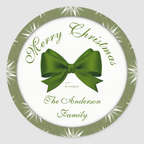 Green Snowflake Family Classic Round Sticker