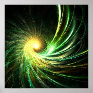Green spiral star - Poster print