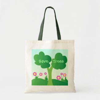 Green tree tote bags