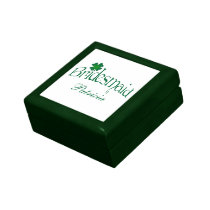 Green, White Shamrocks Bridesmaid Trinket Box