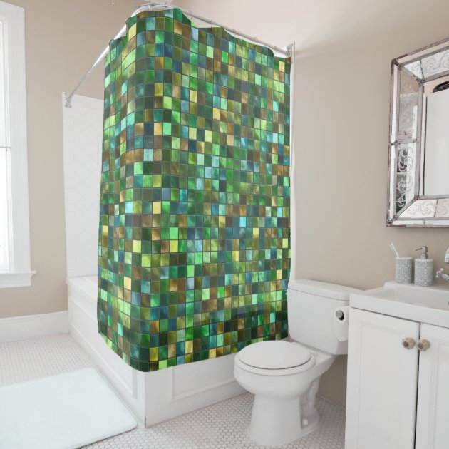 green yellow tiled abstract square pattern mosaic shower curtain zazzle com