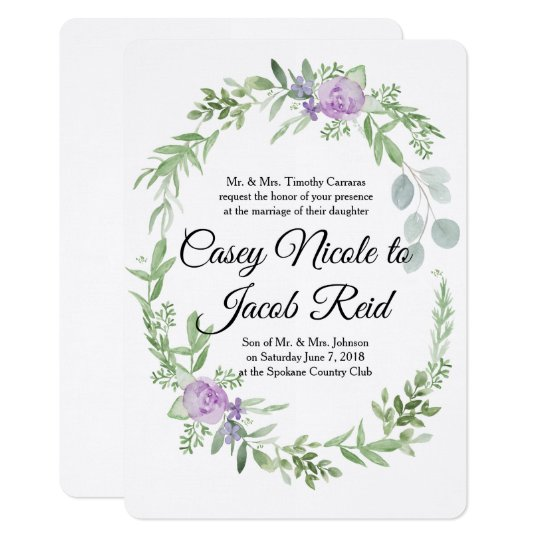 Greenery And Lavender Wedding Invitation Template