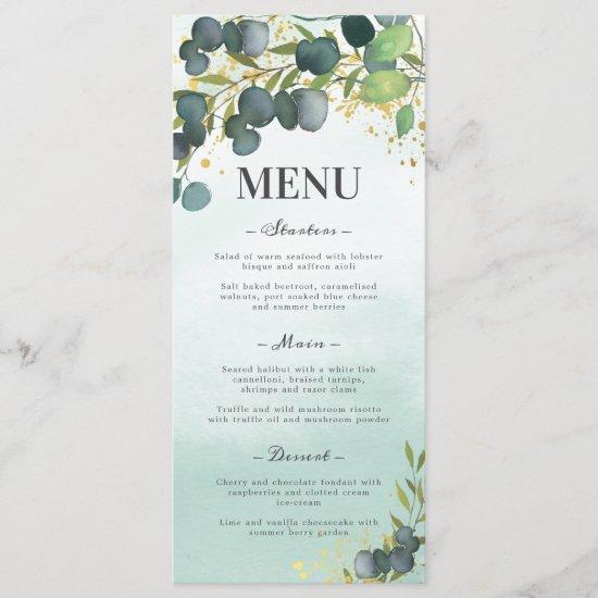 Greenery Eucalyptus Gold Wedding Menu
