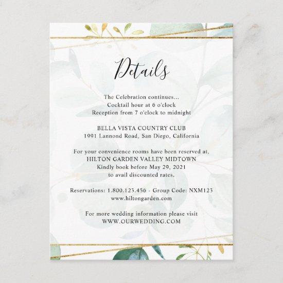 Greenery Eucalyptus Guest Information Details Enclosure Card